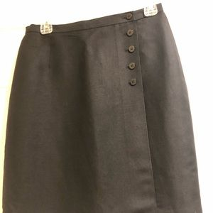 Black linen blend skirt